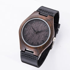 Good Quality Wooden Wrist Watch & Wood Face Watch With Leather Band / Miyota Movement Leather Watches For Men on sale