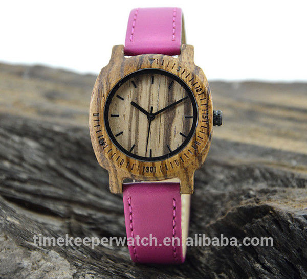 leisure time wood watches ,can make in water proof ,genuine leather watch strap ,