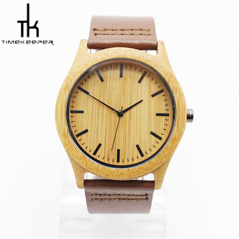 Fashion Quartz Wooden Wrist Watch With Leather Strap For Sports Use