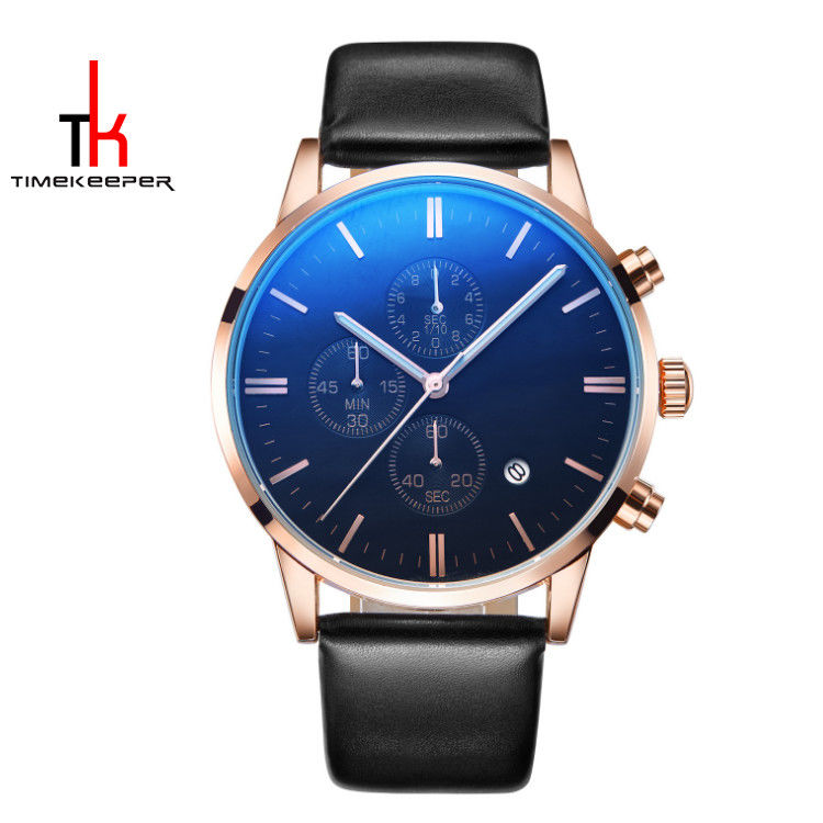 Fashion Alloy Quartz Mens Watch Perpetual Calendar Water Resistant