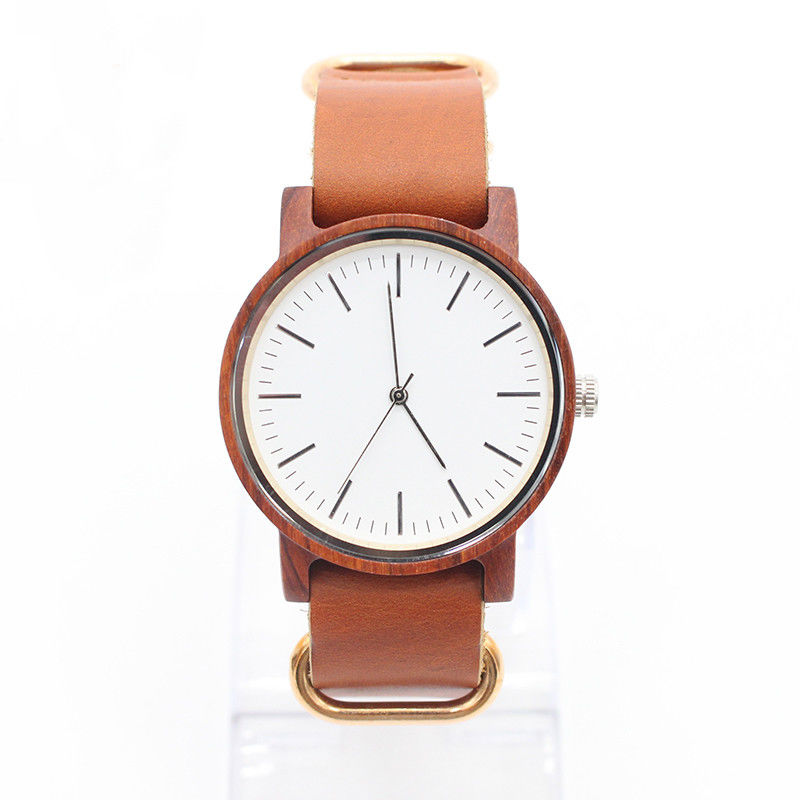 Complete Calendar Minimalist Leather Watch Red Sandalwood Watch Private Label