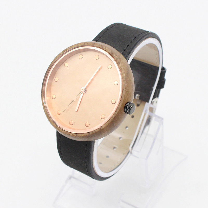 Round Leather Strap Watches Womens Water Resistant Quartz Wood Face