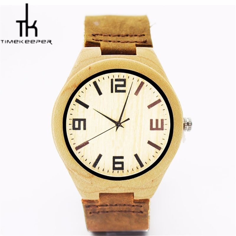 Leather Strap Bamboo Wood Watches Multiple Time Zone With Your Logo