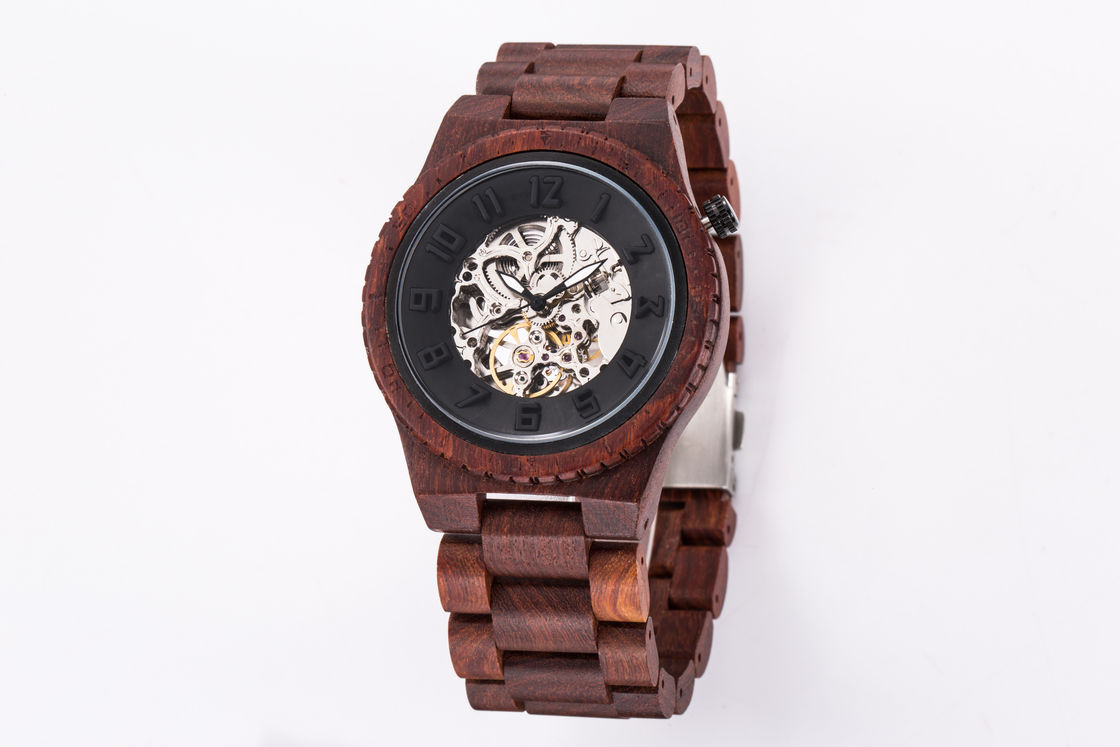 Water Resistant Wooden Mechanical Watch , Automatic Mechanical Wrist Watch