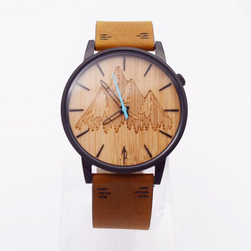 Japan Quartz Movement Mens Stainless Steel Watch With Bamboo Dial