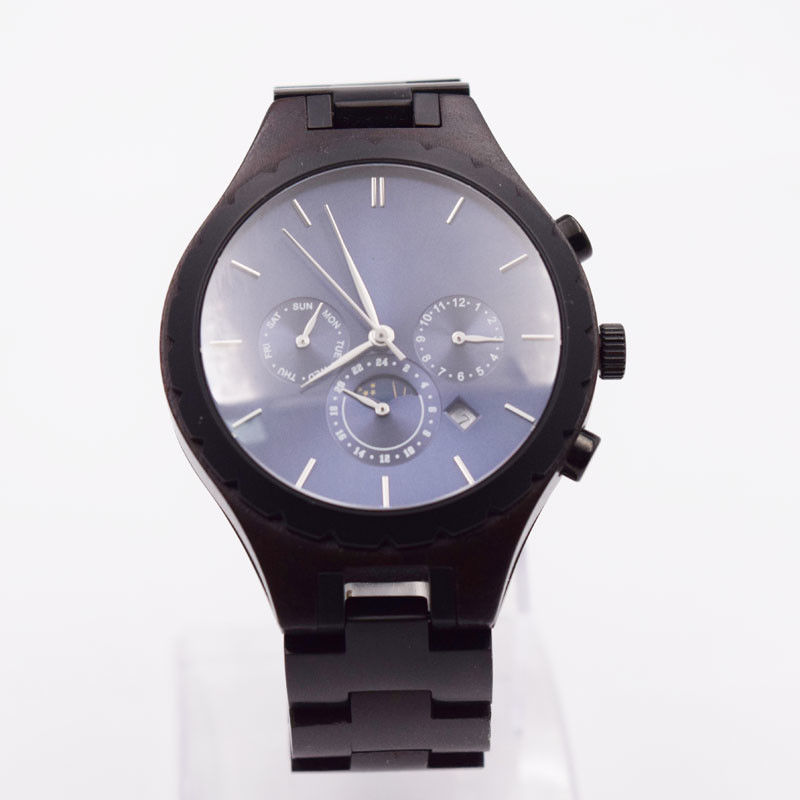 Black Sandalwood Automatic Wrist Watch Stainless Steel Chronograph Men'S Watch