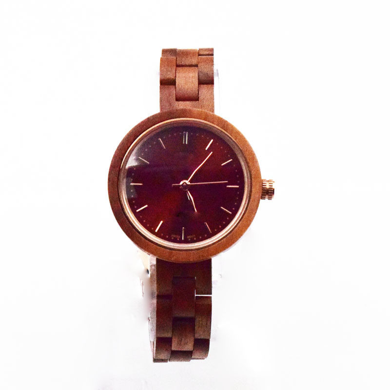 Small Face Ladies Wooden Watches 3 Atm Water Resistant Watch Walnut Wood Cases