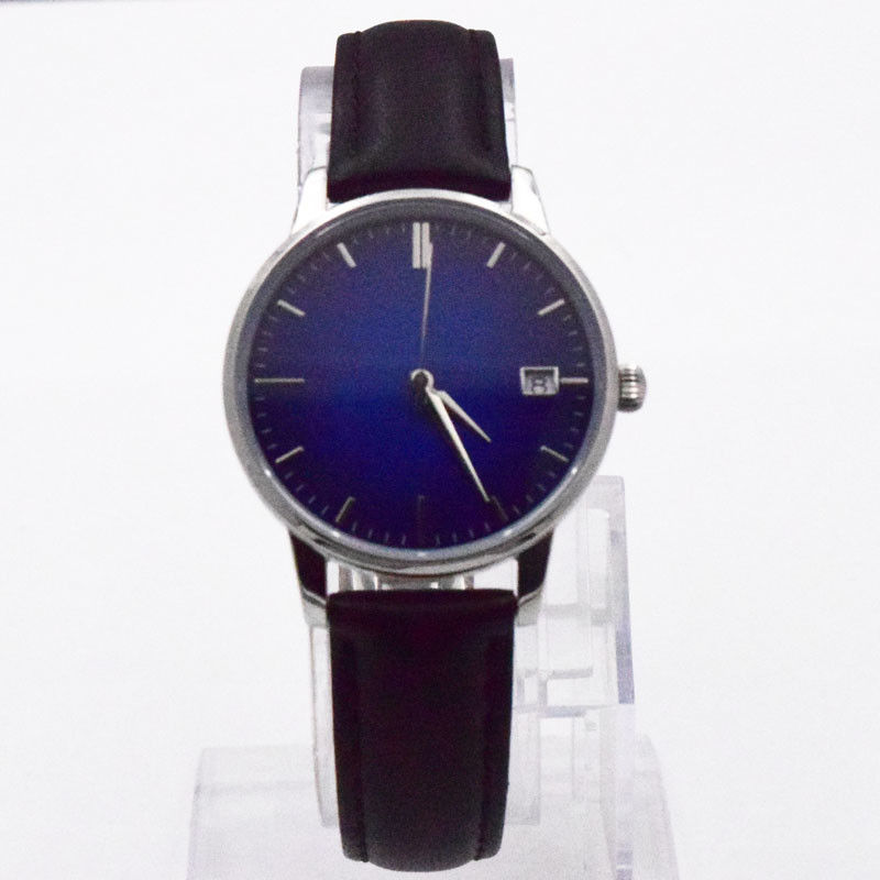 Swiss Ronda Movement Womens Stainless Steel Watch 5 ATM Black Leather Wrist Watch
