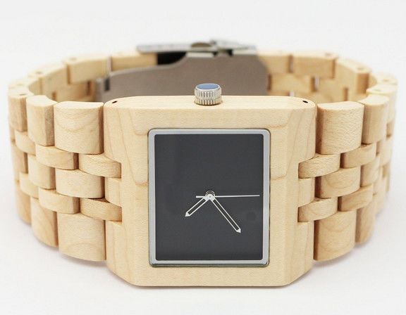 Swiss Movement Square Face Wooden Watches 3 ATM Waterproof Custom Made