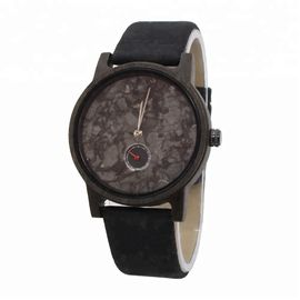 Water Proof Black Sandalwood Marble Face Watch With Natural Cork Straps
