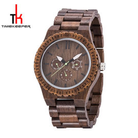 Walnut Wood Case Multifunction Wrist Watch With Date In Dial Customized Logo