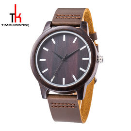 Sandal Wood Minimalist Leather Watch , Mens Leather Strap Watches