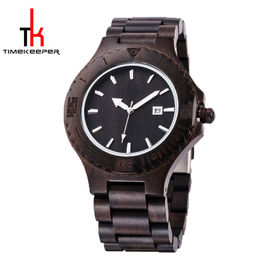 Black Mens Watch Wood Face All Made Out Of Wood Miyota Movement