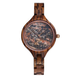 36mm Stone Marble Face Watch Wooden Band True Wood Watches OEM LOGO