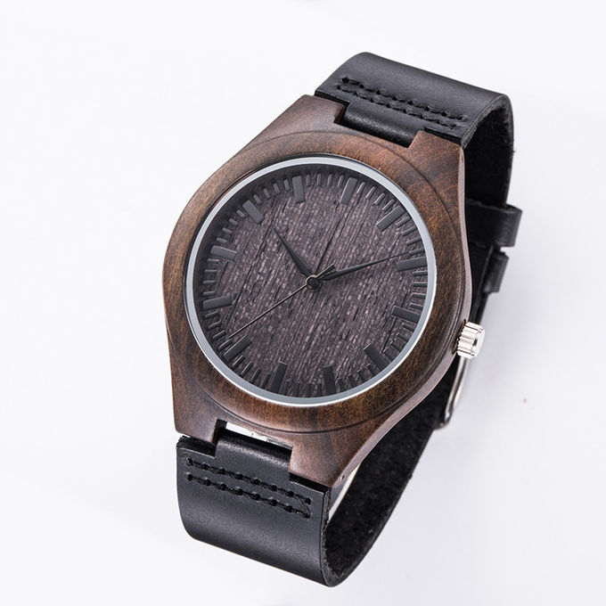Wood Face Watch With Leather Band / Miyota Movement Leather Watches For Men