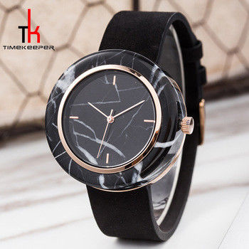 Black Marble Face Watch Mens Genuine Leather Straps Water Resistant 3 Atm
